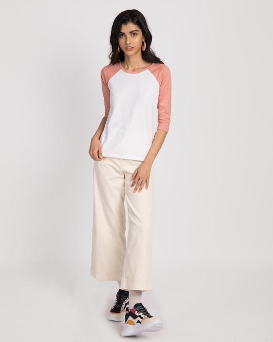 Shop White-Misty Pink 3/4th Sleeve Raglan T-Shirt