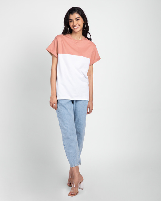 Shop White-Misty Pink 90's Vibe Boyfriend Panel T-Shirt