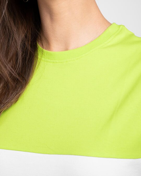 Shop White-Neon Green 90's Vibe Boyfriend Panel T-Shirt