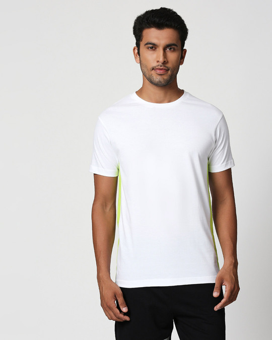 Shop White-Neon Green Contrast Side Sean T-Shirt-Front