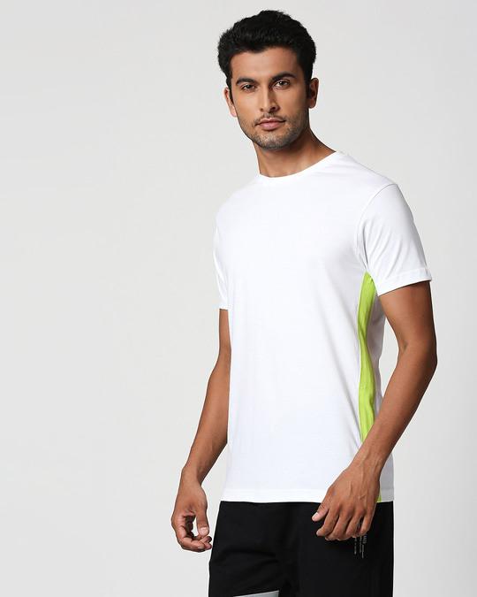 Shop White-Neon Green Contrast Side Sean T-Shirt-Back