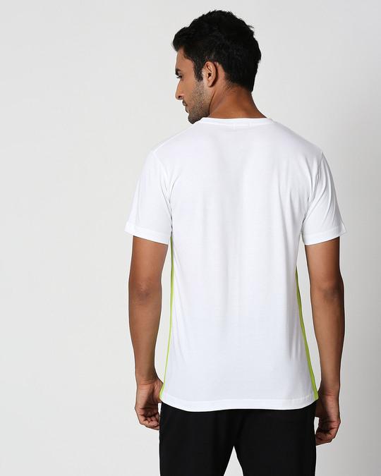 Shop White-Neon Green Contrast Side Sean T-Shirt-Design