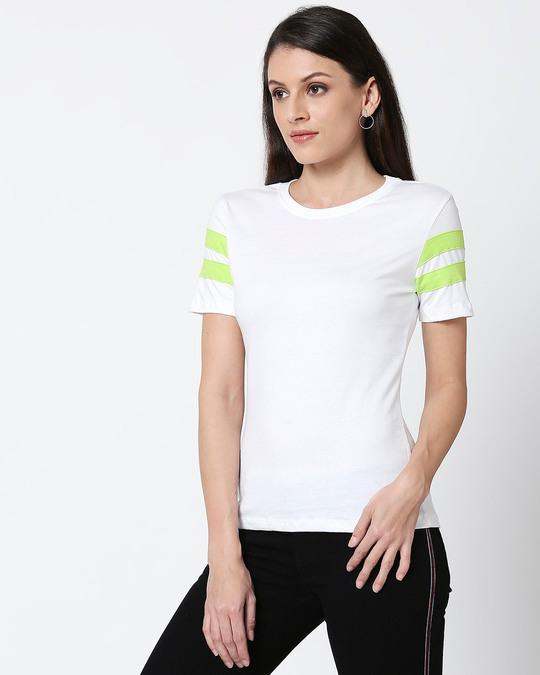 Shop White-Neon Green Double Tape Boyfriend T-Shirt-Back