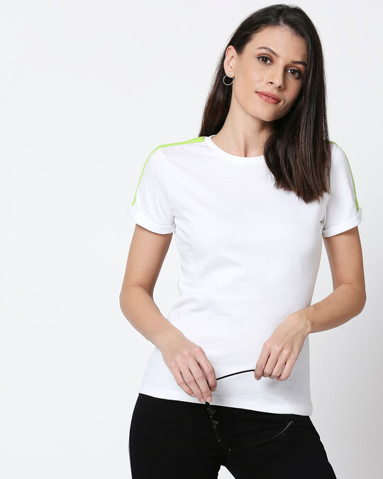 Shop White-Neon Green Shoulder Sleeve Half Sleeves T-Shirt-Design