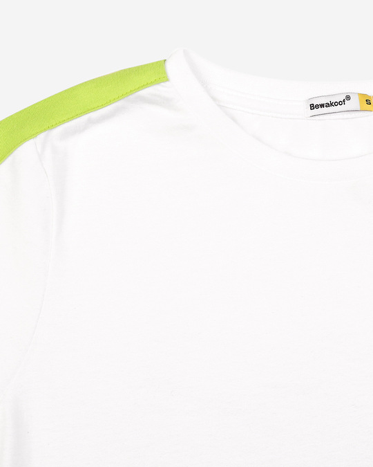 Shop White-Neon Green Shoulder Sleeve Half Sleeves T-Shirt