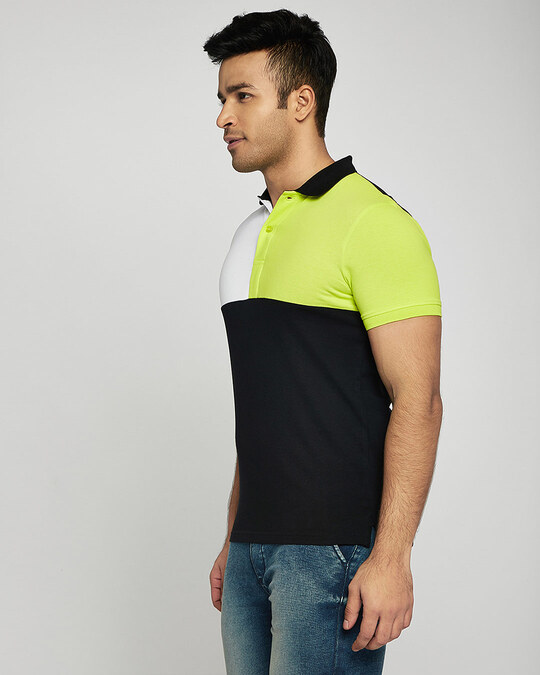 Shop White-Neon Lime-Black Half & Half Polo T-Shirt-Back