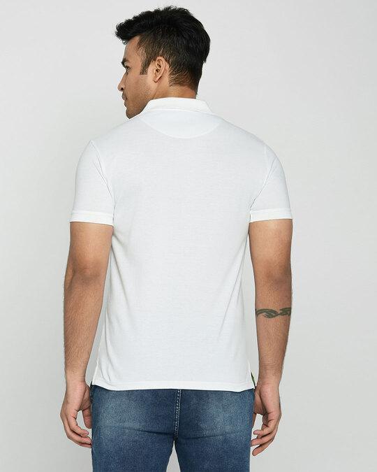 Shop White-Neon Lime Contrast Collar Pique Polo T-Shirt-Design