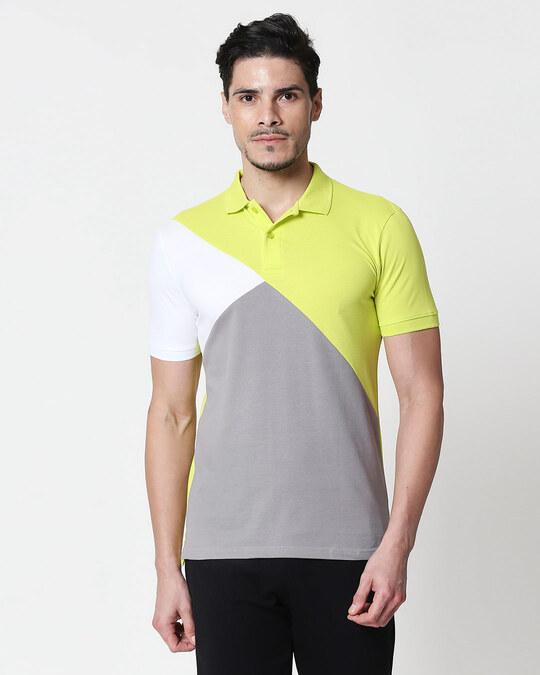 Shop White-Neon Lime-Meteor Grey Asymmetric Polo T-Shirt-Front