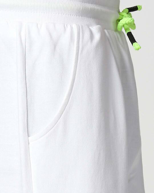 Shop White-Neon Lime Reflector Shorts