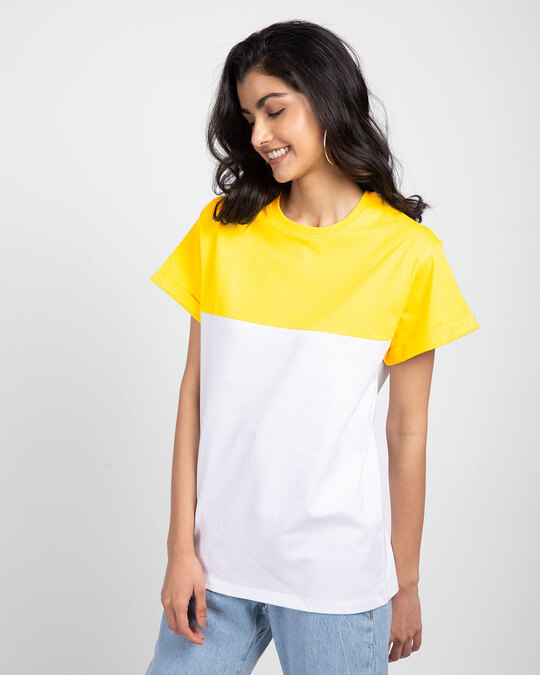 Shop White-Pineapple Yellow 90's Vibe Boyfriend Panel T-Shirt-Back