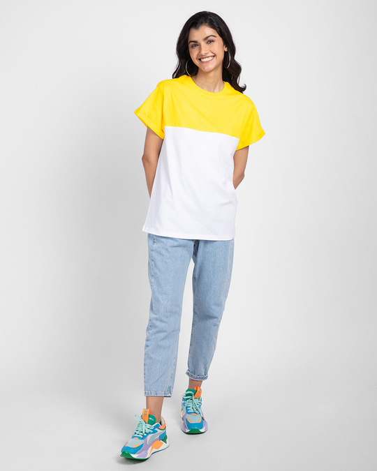 Shop White-Pineapple Yellow 90's Vibe Boyfriend Panel T-Shirt