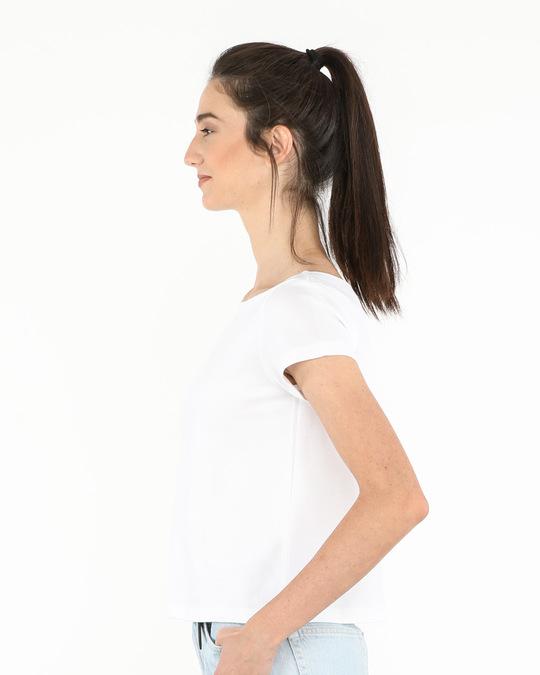 Shop White Pique Cropped Top-Back