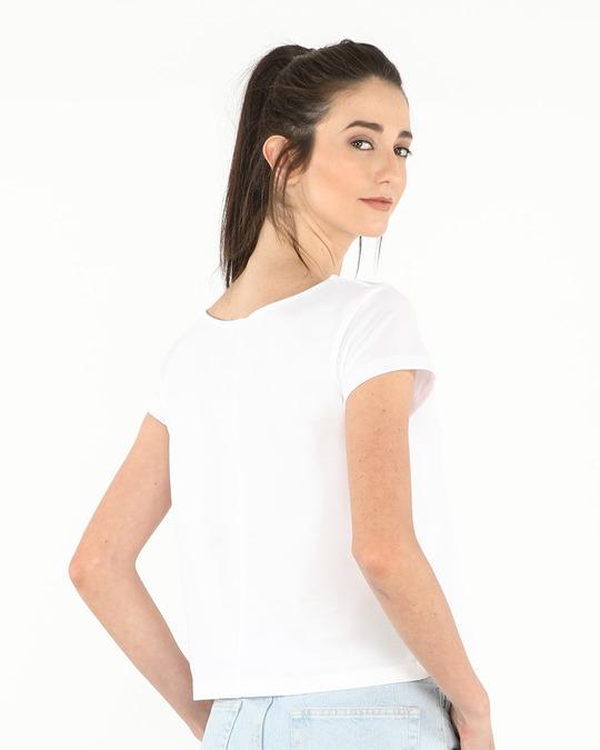 Shop White Pique Cropped Top-Design