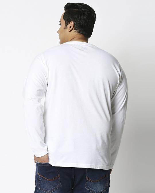 Shop White Plus Size Full Sleeve T-Shirt-Design