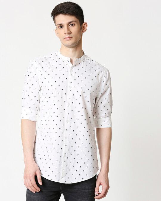 Shop White Poplin Print Shirt-Back