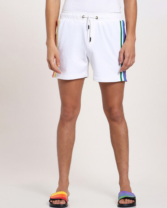 Shop White Pride Side Color Binding Shorts-Front