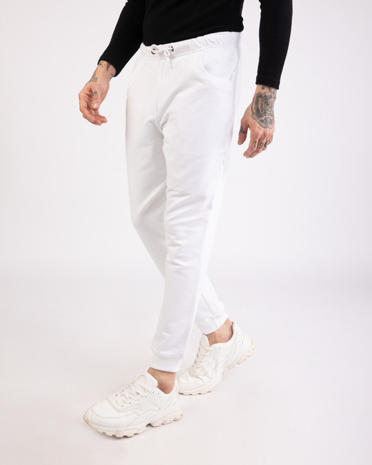Shop White Round Pocket Joggers Pants-Back