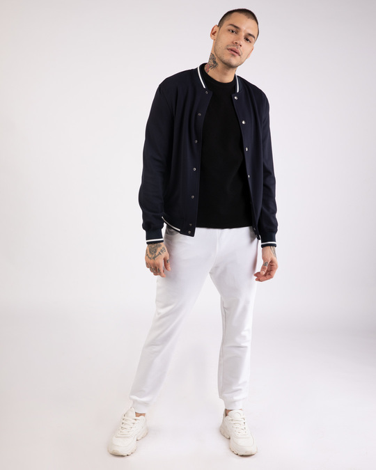 Shop White Round Pocket Joggers Pants-Full