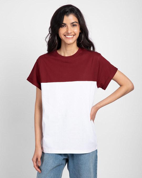 Shop White-Scarlet Red 90's Vibe Boyfriend Panel T-Shirt-Front