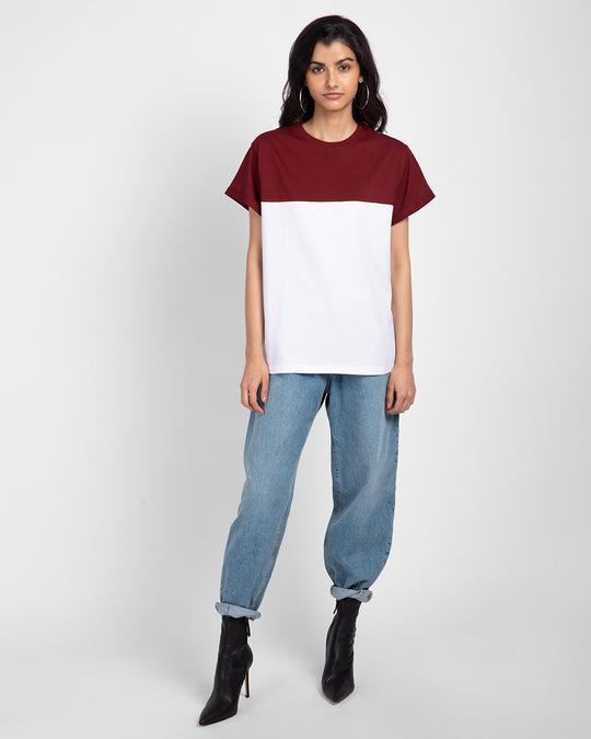 Shop White-Scarlet Red 90's Vibe Boyfriend Panel T-Shirt