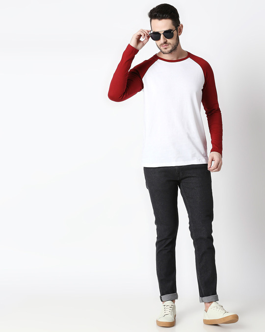 Shop White-Scarlet Red Full Sleeve Raglan T-Shirt
