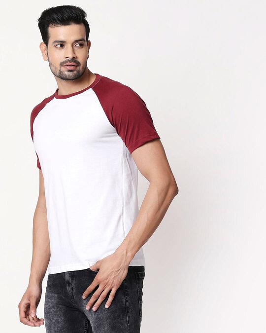 Shop White-Scarlet Red Half Sleeve Raglan T-Shirt-Back