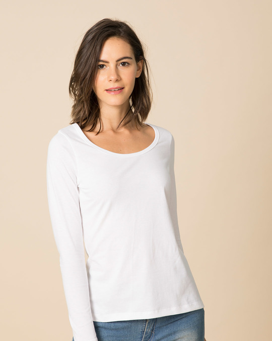 Shop White Scoop Neck Full Sleeve T-Shirt-Front
