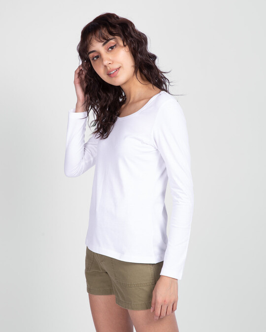 Shop White Scoop Neck Full Sleeve T-Shirt-Back