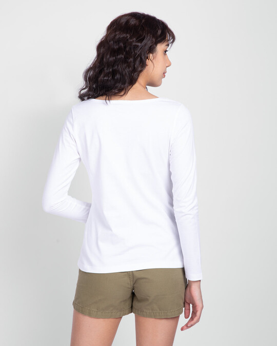 Shop White Scoop Neck Full Sleeve T-Shirt-Design