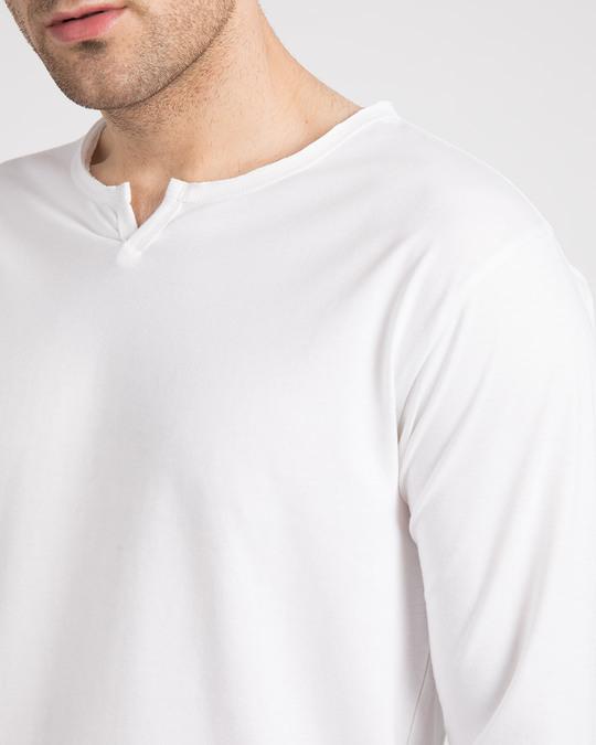 Shop White Slit Neck Full Sleeve Henley T-Shirt
