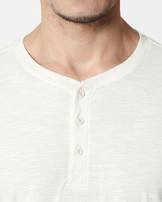 Shop White Slub Half Sleeve Henley T-Shirt-Full