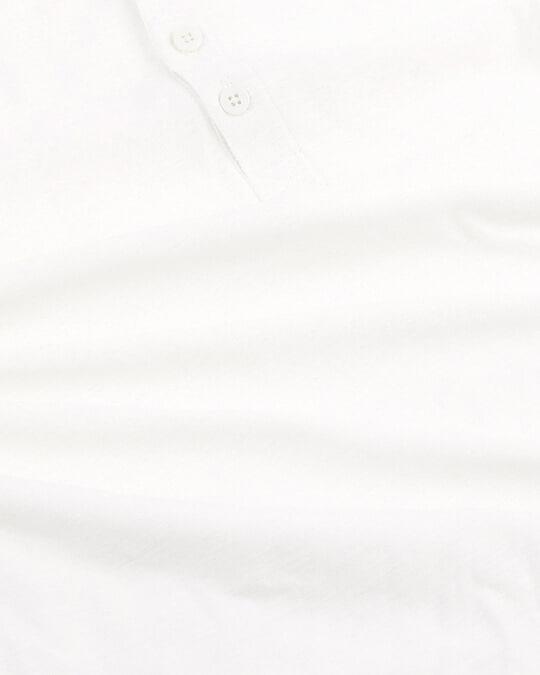 Shop White Slub Half Sleeve Henley T-Shirt