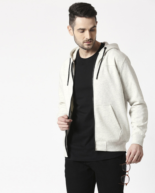 Shop White Snow Stylised Zipper Hoodie-Front