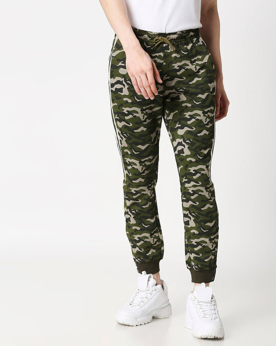 Shop White Stripes Olive Camo Twin Stripes Casual Pants Jogger-Back