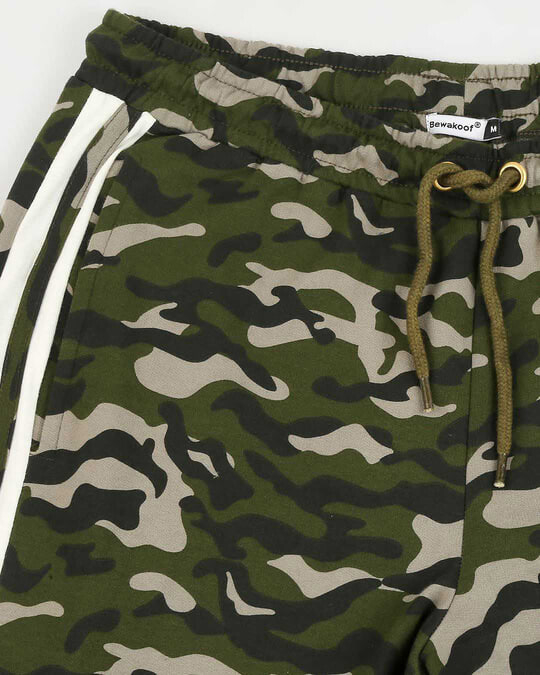 Shop White Stripes Olive Camo Twin Stripes Casual Pants Jogger