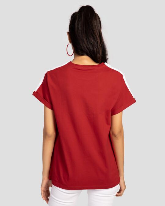 Shop White Stripes Side Panel Boyfriend T-shirt-Full