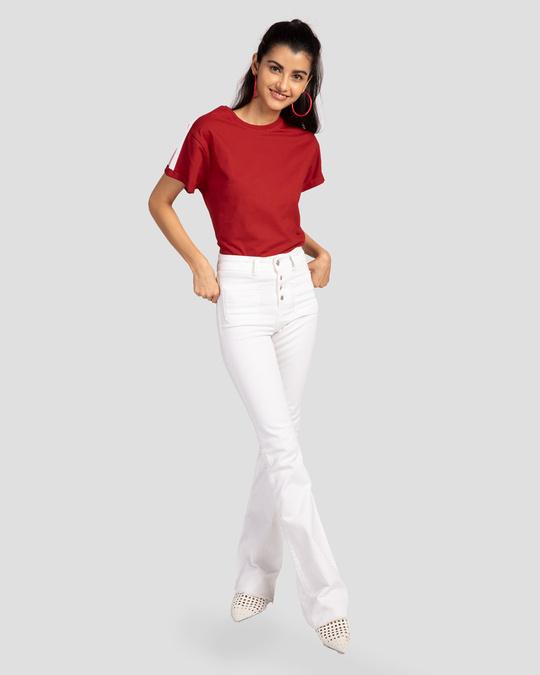 Shop White Stripes Side Panel Boyfriend T-shirt