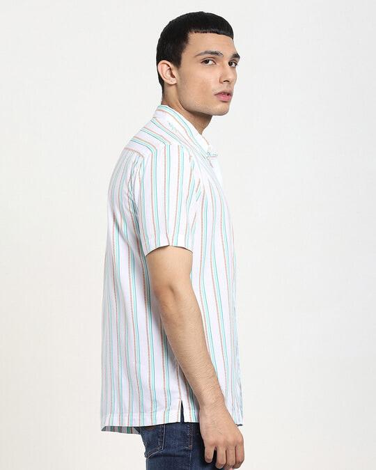 Shop White Tribal Stripe Half Sleeve Shirt-Back