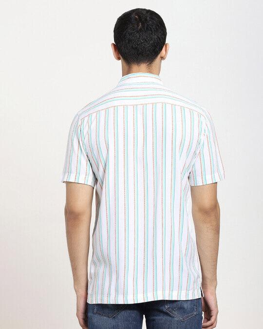 Shop White Tribal Stripe Half Sleeve Shirt-Design
