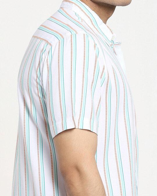 Shop White Tribal Stripe Half Sleeve Shirt