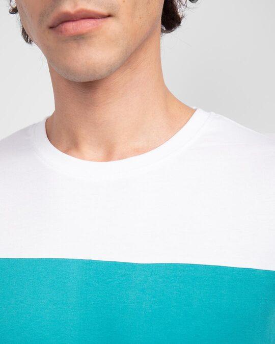 Shop White-Tropical Blue-White 90's Vibe Panel T-Shirt