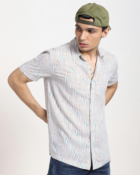 Shop White uneven Line AOP Half Sleeve Shirt-Back