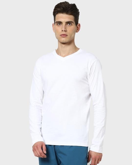 Shop White V-Neck Full Sleeve T-Shirt-Back