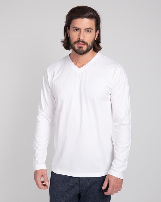 Shop White V-Neck Full Sleeve T-Shirt-Front