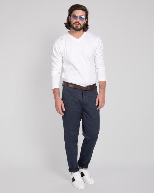 Shop White V-Neck Full Sleeve T-Shirt-Full