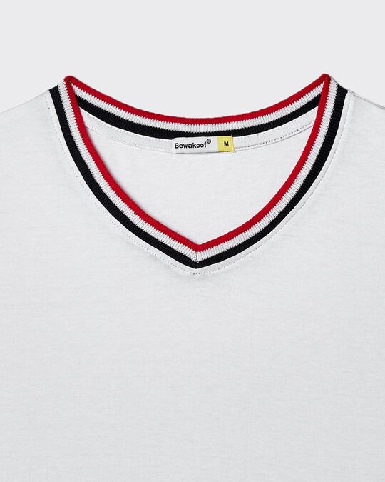 Shop White V-Neck Varsity Rib T-shirt