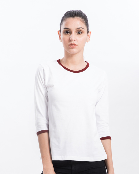 Shop White-Varsity Maroon 3/4th Sleeve Ringer T-Shirt-Front