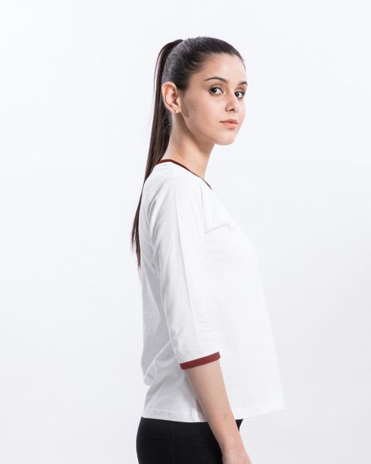 Shop White-Varsity Maroon 3/4th Sleeve Ringer T-Shirt-Back
