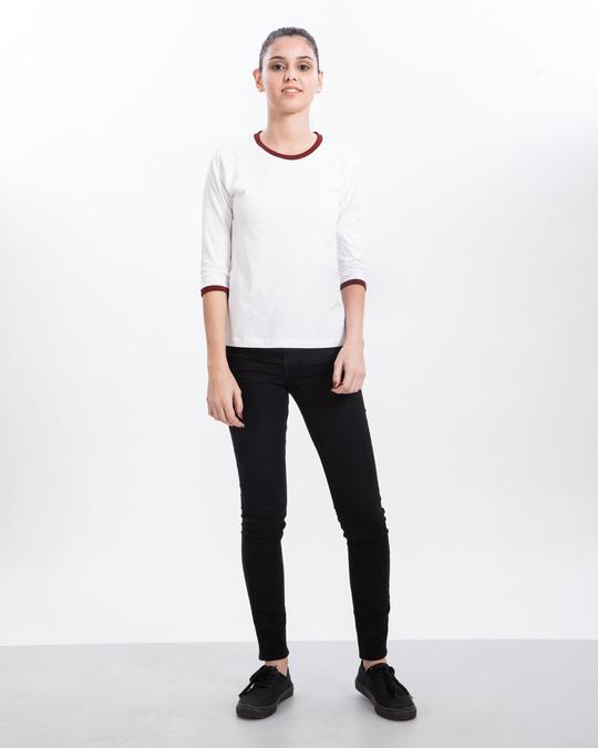 Shop White-Varsity Maroon 3/4th Sleeve Ringer T-Shirt-Full