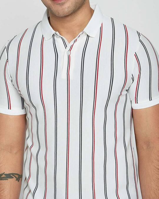 Shop White Vertical Stripe Pique Polo T-Shirt